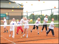 Children on new National Tennis Centre clay court