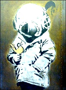 Banksy's Space Girl and Bird