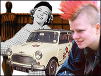 From left: Angel of the North, a woman in the 1950s, a Mini car and a punk