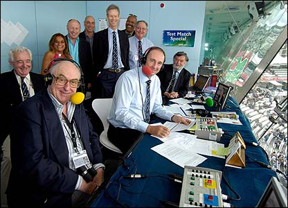 TMS producer Peter Baxter, Henry Blofeld, Shilpa Patel, Vic Marks, Mike Selvey, Christopher Martin-Jenkins, Colin Croft, Tony Cozier, Jonathan Agnew and Bill Frindall gather at Lord's