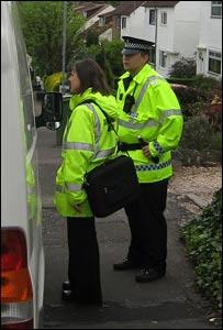 Environmental Health Officer speaking to van driver
