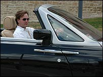 Reporter Jorn Madslien at the controls of the Rolls-Royce
