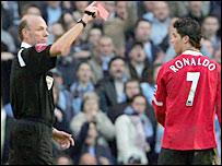 Referee Steve Bennett sent off Man Utd's Cristiano Ronaldo last season