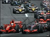 The start of the Spanish Grand Prix