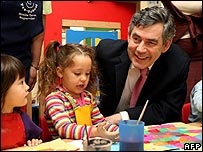 Gordon Brown visits a primary school