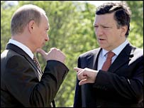 Russian President Vladimir Putin and European Commission President Jose Manuel Barroso
