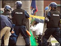 Police outside the siege in Nagakute, Nagoya - 18 May 2007