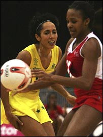 England's Pamela Cookey (right) challenges Australia's Mo'onia Gerrard.