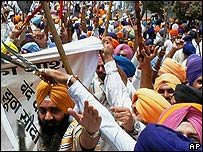 Sikhs protesting in Punjab. File photo