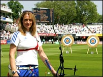 Alison Williamson at Lord's, which will host the archery events at the 2012 Olympics.