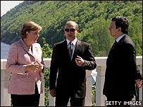 Angela Merkel,  Vladimir Putin y Jose M. Durao Barroso