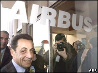 Nicolas Sarkozy on a visit to Airbus