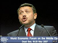 Jordan's King Abdullah addresses the World Economic Forum