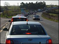 Traffic jam on Irish road