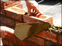 Building bricks being laid