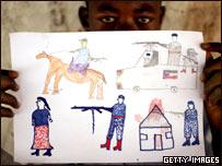 Dibujo de un ni�o sudan�s refugiado