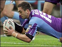 Stephen Wild goes in for a try