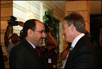 Iraqi PM Nouri Maliki meets Tony Blair in Baghdad