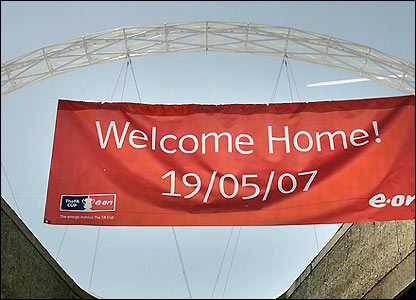 A banner is displayed near the new Wembley