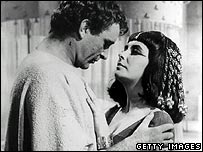 Richard Burton as Marc Antony and Elizabeth Taylor as Cleopatra in the 1963 film Cleopatra