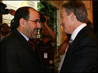 Iraqi PM Nouri Maliki meets Tony Blair in Baghdad