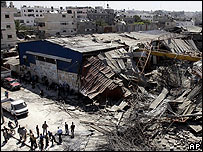 A building in Gaza hit by an Israeli air strike