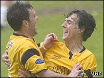 Steven Thomson and Alan Gow celebrate at East End Park