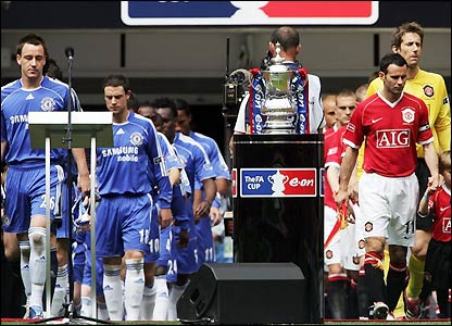 John Terry and Ryan Giggs lead the teams out