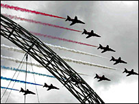 The Red Arrows were part of the pre-match build-up
