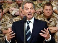 Tony Blair speaking in Basra