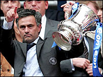 Chelsea boss Jose Mourinho parades the FA Cup