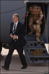 Blair at Baghdad airport