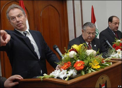 Blair, Jalal Talabani and Nouri Maliki
