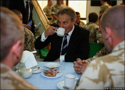 Blair with troops in Basra