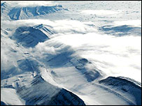 Summits of ice-capped mountains