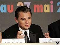 Di Caprio en la conferencia de prensa el 19 de mayo