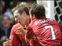 Scott Severin celebrates after scoring Aberdeen's opening goal