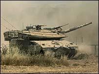 Israeli tank near the Gaza Strip