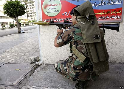 A Lebanese soldier aims a rocket-propelled grenade, Tripoli