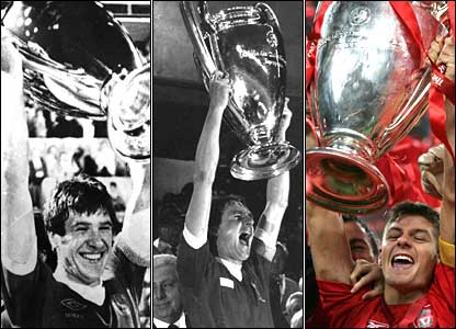 Emlyn Hughes, Phil Thompson and Steven Gerrard lift the European Cup for Liverpool