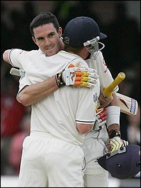 Kevin Pietersen celebrates his century with Paul Collingwood