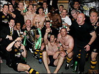 Wasps celebrate winning the Heineken Cup against Leicester