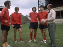 Marinello (middle) jokes with Arsenal team-mates George Graham, Alan Ball, Pat Rice and boss Bertie Mee