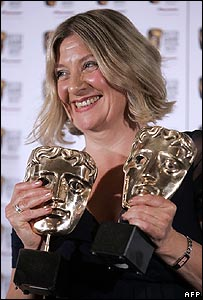 Victoria Wood with her Bafta TV Awards