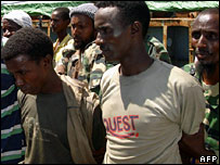 Arrested pirates onboard a cargo ship in Mogadishu (file picture)