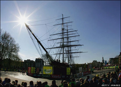 The Cutty Sark as part of the London Marathon route