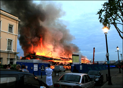 A view of the Cutty Sark fire