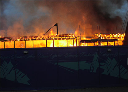The Cutty Sark on fire