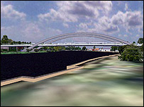 Artist's impression of the revised bridge plan (from Surrey County Council)