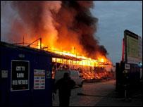 Cutty Sark on fire